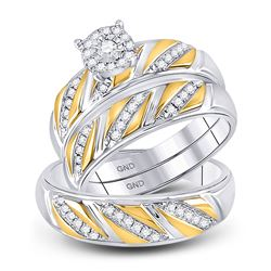 1/3 CTW His Hers Round Diamond Solitaire Matching Wedding Set 10kt Two-tone Gold - REF-52V5Y