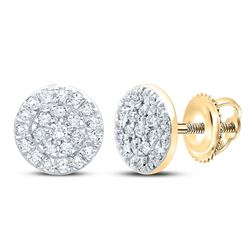 1/8 CTW Womens Round Diamond Cluster Earrings 10kt Yellow Gold - REF-17N6A