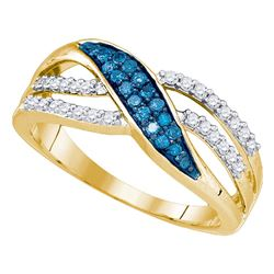 1/3 CTW Womens Round Blue Color Enhanced Diamond Band Ring 10kt Yellow Gold - REF-30F5W