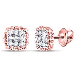 1/4 CTW Womens Round Diamond Beaded Square Frame Cluster Earrings 10kt Rose Gold - REF-23A3M