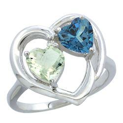 2.61 CTW Diamond, Amethyst & London Blue Topaz Ring 14K White Gold - REF-34M2A