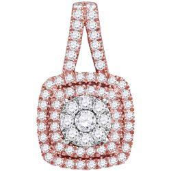 1 CTW Womens Round Diamond Cluster Cushion Pendant 14kt Rose Gold - REF-92W3H