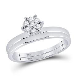 1/6 CTW Round Diamond Cluster Bridal Wedding Ring Band Set 10kt White Gold - REF-25H3R