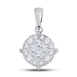 2 CTW Womens Princess Diamond Fashion Cluster Pendant 14kt White Gold - REF-245T4V