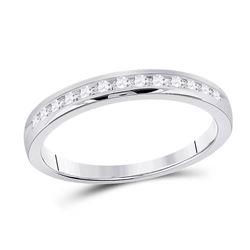 1/4 CTW Womens Round Diamond Wedding Single Row Band Ring 14kt White Gold - REF-34T3V