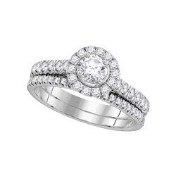 1 CTW Round Diamond Bridal Wedding Ring 14kt White Gold - REF-126Y2N