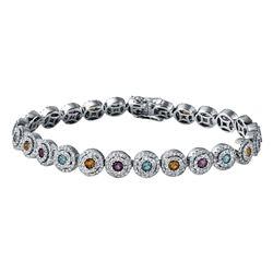 4.72 CTW Amethyst & Diamond Bracelet 14K White Gold - REF-274W4H