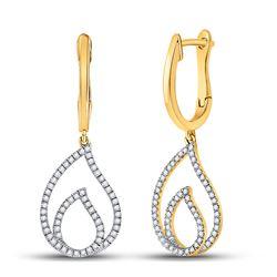 1/3 CTW Womens Round Diamond Teardrop Dangle Earrings 10kt Yellow Gold - REF-32H7R