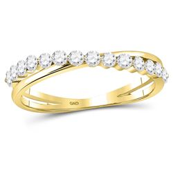 1/3 CTW Womens Round Diamond Crossover Stackable Band Ring 10kt Yellow Gold - REF-34M3F