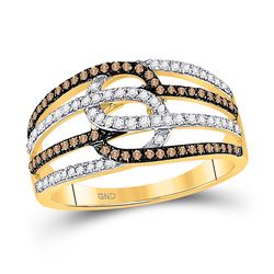 1/2 CTW Womens Round Brown Diamond Linked Loop Band Ring 10kt Yellow Gold - REF-30N7A