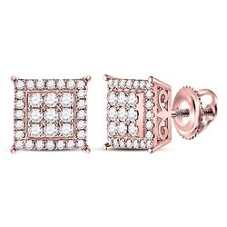 1/2 CTW Womens Round Diamond Square Cluster Earrings 14kt Rose Gold - REF-47M6F