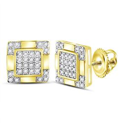 1/6 CTW Mens Round Diamond Square Cluster Stud Earrings 10kt Yellow Gold - REF-19M8F