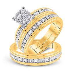 1/3 CTW His Hers Round Diamond Cluster Matching Wedding Set 10kt Yellow Gold - REF-40M8F