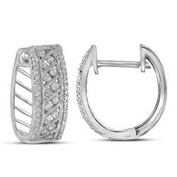 5/8 CTW Womens Round Channel-set Diamond Hoop Earrings 10kt White Gold - REF-45F2W