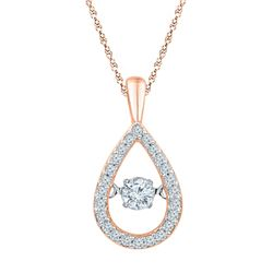1/4 CTW Womens Round Diamond Moving Twinkle Teardrop Pendant 10kt Rose Gold - REF-24R5X