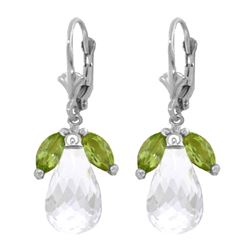 Genuine 14.4 ctw White Topaz & Peridot Earrings 14KT White Gold - REF-46K7V