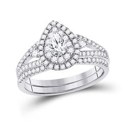 1 CTW Pear Diamond Bridal Wedding Ring 14kt White Gold - REF-143Y2N