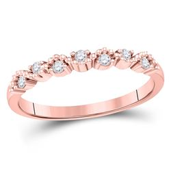 1/8 CTW Womens Round Diamond Stackable Band Ring 10kt Rose Gold - REF-19X2T