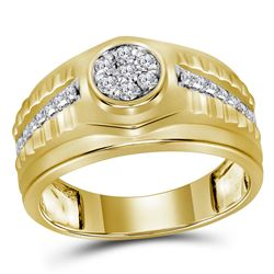 1/2 CTW Mens Round Diamond Ribbed Cluster Ring 10kt Yellow Gold - REF-57M3F