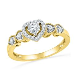 1/5 CTW Womens Round Diamond Solitaire Framed Heart Ring 10kt Yellow Gold - REF-29M4F