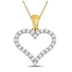 1/4 CTW Womens Round Diamond Outline Heart Pendant 14kt Yellow Gold - REF-24Y5N