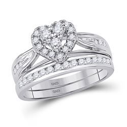 1/2 CTW Round Diamond Heart Bridal Wedding Ring Band Set 10kt White Gold - REF-55A3M