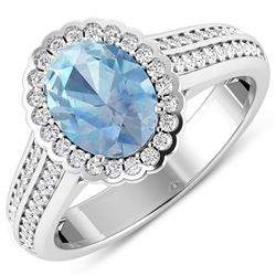 Natural 1.82 CTW Aquamarine & Diamond Ring 14K White Gold - REF-70X9K