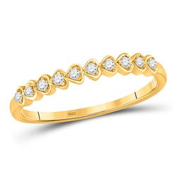 1/10 CTW Womens Round Diamond Heart Stackable Band Ring 10kt Yellow Gold - REF-15H5R