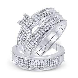 1/2 CTW His Hers Round Diamond Cluster Matching Wedding Set 10kt White Gold - REF-47W6H