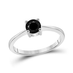 3/4 CTW Round Black Color Enhanced Diamond Solitaire Bridal Engagement Ring 10kt White Gold - REF-16