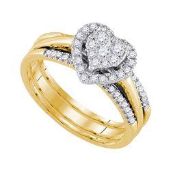 1/2 CTW Diamond Heart Bridal Wedding Ring 10kt Yellow Gold - REF-58V2Y