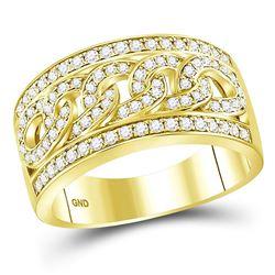 1 CTW Mens Round Diamond Cuban Link Band Ring 14kt Yellow Gold - REF-122M6F