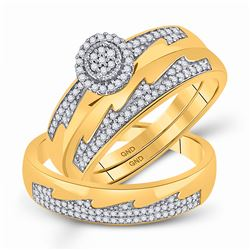 1/3 CTW His Hers Round Diamond Cluster Matching Wedding Set 10kt Yellow Gold - REF-43V6Y