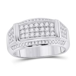 1 CTW Mens Round Diamond Band Ring 10kt White Gold - REF-120A2M