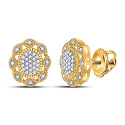 1/6 CTW Womens Round Diamond Oval Earrings 10kt Yellow Gold - REF-18T5V