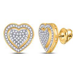 1/4 CTW Womens Round Diamond Heart Earrings 10kt Yellow Gold - REF-28W5H