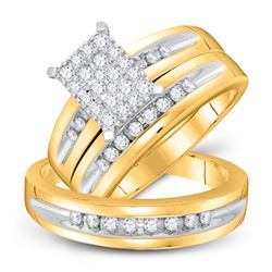 5/8 CTW His Hers Round Diamond Cluster Matching Wedding Set 10kt Yellow Gold - REF-70F8W