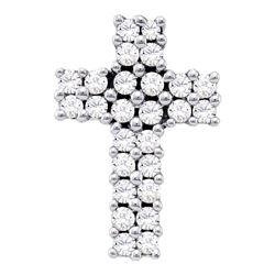 1/3 CTW Womens Round Diamond Cross Pendant 14kt White Gold - REF-29R9X