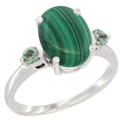 2.99 CTW Malachite & Green Sapphire Ring 10K White Gold - REF-22X4M