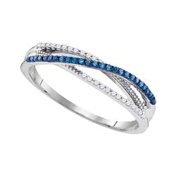 1/6 CTW Womens Round Blue Color Enhanced Diamond Band Ring 10kt White Gold - REF-19H2R