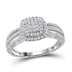 3/8 CTW Round Diamond Cushion Bridal Wedding Engagement Ring 10kt White Gold - REF-30W7H