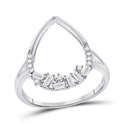 1/5 CTW Womens Round Diamond Teardrop Scattered Fashion Ring 14kt White Gold - REF-29Y4N