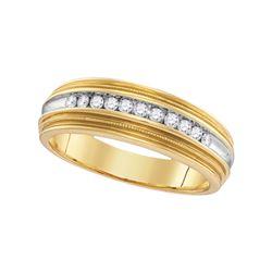 1/4 CTW Mens Round Diamond Two-tone Milgrain Wedding Anniversary Band Ring 10kt Yellow Gold - REF-36