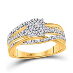 1/3 CTW Womens Round Diamond Woven Cluster Ring 10kt Yellow Gold - REF-43T2V
