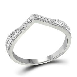 1/8 CTW Womens Round Diamond Chevron Band Ring 10kt White Gold - REF-19H6R