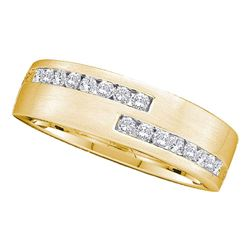 1/2 CTW Mens Round Diamond Double Row Wedding Band Ring 14kt Yellow Gold - REF-74V4Y