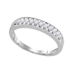 1/4 CTW Womens Round Pave-set Diamond Single Row Wedding Band Ring 10kt White Gold - REF-27M3F