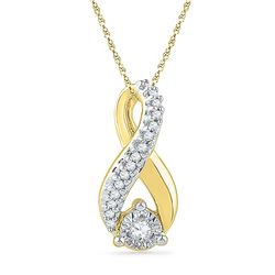 1/10 CTW Womens Round Diamond Vertical Infinity Pendant 10kt Yellow Gold - REF-11M6F