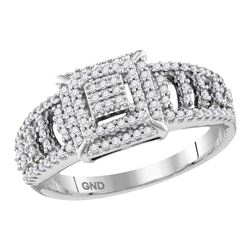 1/3 CTW Womens Round Diamond Square Cluster Ring 10kt White Gold - REF-29A9M