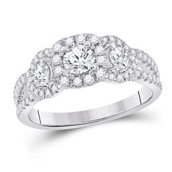 1 & 1/4 CTW Round Diamond 3-stone Bridal Wedding Engagement Ring 14kt White Gold - REF-156V7Y